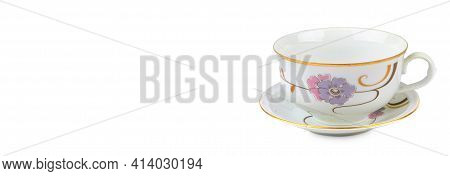 Traditional Porcelain Teacup Isolated On White Background. Free Space For Text. Wide Photo.