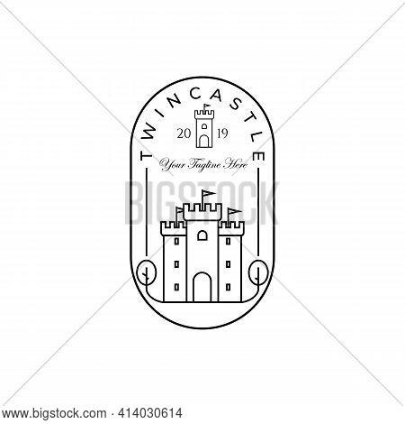 Castle Logo Vector Illustration Design, Creative Logo For Brand, Twin Castle