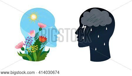 Psychotherapy Or Psychology Support Concept. Two Heads With Different States Of Consciousness Mind -