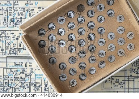 Old Radio Parts And Radio Circuit As Background For Education, Electricity Industries And Repair. El