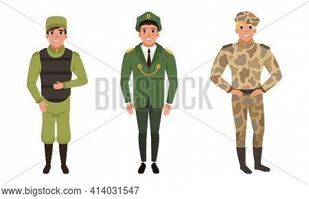 Man Standing In Military Uniform And Beret Vector Set
