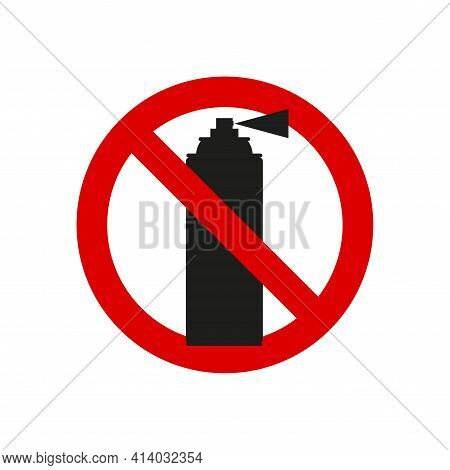 No Aerosol, No Graffiti Spray Can Sign. Vector Illustration Isolated On White