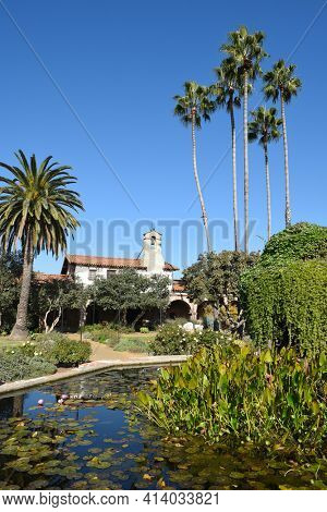 San Juan Capistrano, Ca - December 1, 2017: Pond in the Central Courtyard of the 7th mission founded in 1776 by Father Junipero Serra.