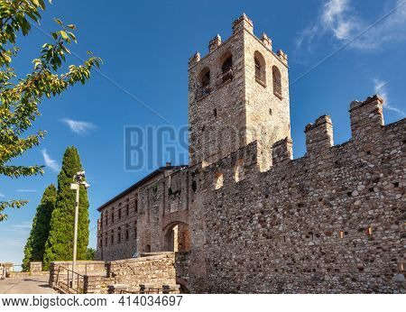 Castle at Desenzano del Garda, a resort town on the southern shore of Lake Garda in Northern Italy. Lake Garda is the largest lake in Italy and a popular holiday location on the edge of the Dolomites