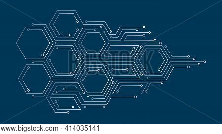 Vector Abstract Illustration. Chip Concept, Future, Cyberpunk, Computer Elements. Lines, Hexagonal S