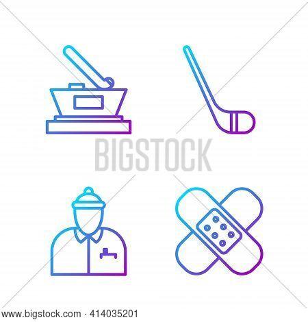 Set Line Crossed Bandage Plaster, Hockey Coach, Ice Hockey Cup Champion And Ice Hockey Stick. Gradie