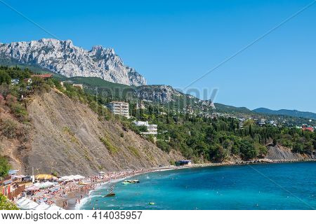 Sea View With Rocky Beaches And Cliffs. Tourism In The Crimea. Summer Photo Of A Sea Landscape. Crim
