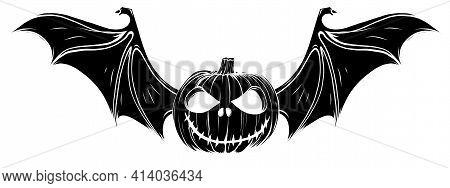 Black Silhouette Of Halloween Pumpkin With Bat Wings Vector Illustration