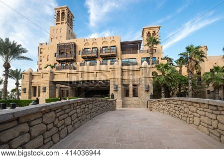 Dubai, United Arab Emirates - 05 December, 2018: Madinat Jumeirah The Arabian Resort - Dubai Is A 5