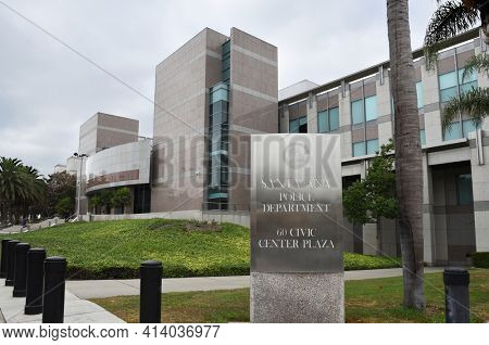 SANTA ANA, CALIFORNIA - AUGUST 27, 2018: Santa Ana Police Department main entrance. The building is located at the corner of Civic Center Drive and Boyd Way.