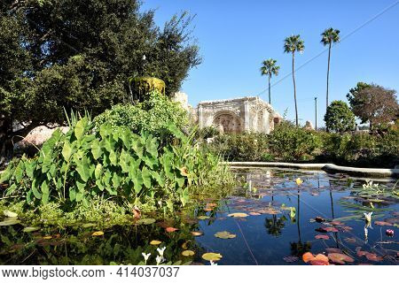 SAN JUAN CAPISTRANO, CALIFORNIA - 12 JAN 2017: Pond in the Central Courtyard of the 7th mission founded in 1776 by Father Junipero Serra.