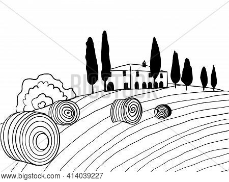 Black And White Drawn Toscana Countryside Scenery