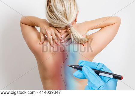 Doctor Plastic Surgeon Marks With A Felt-tip Pen A Marker For A Surgical Operation To Remove Fat On