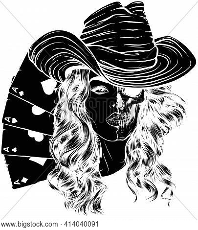 Black Silhouette Of Attractive Skull Cowgirl With With Poker Ace