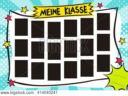 German School Childrens Photo Frame In Pop Art Style. Bright Page For Class Photos. Template For Des