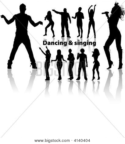 dancing and singing people's silhouette