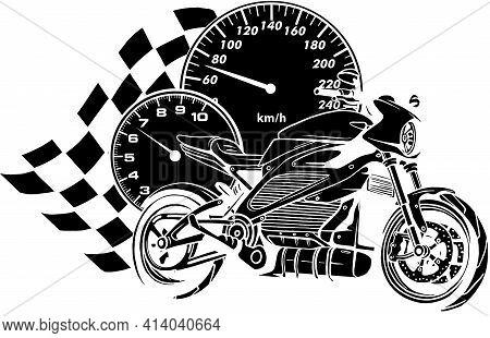 Black Silhouette Of Motorcycle Racer Sport Vector Illustration Design