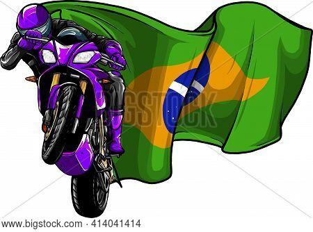 Cornering Motorbike Racer With Brazil Flag Vector