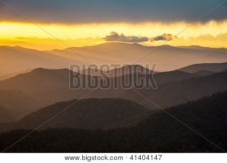 Blue Ridge Parkway Sunset Southern Appalachian Mountains Scenic Nature Landscape