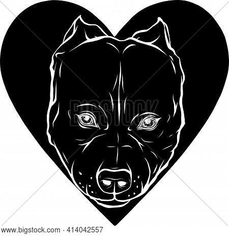 Black Silhouette Of Pitbull Head Dog In Heart Vector Illustration