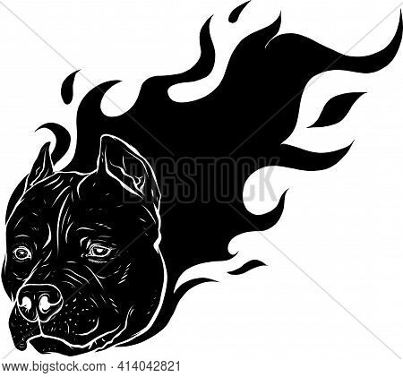 Black Silhouette Of Head Of Dog Pitbull With Flames Vector
