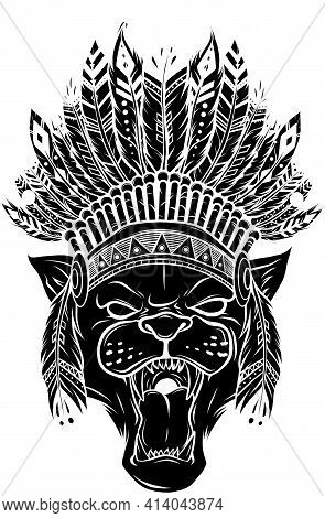 Black Silhouette Panther With Native American Indian Chief Headdress.