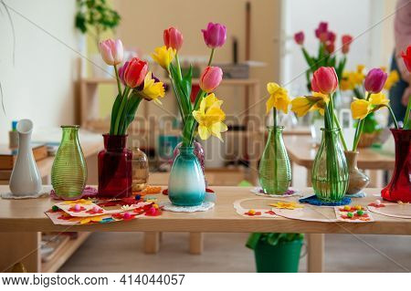 Concept of spring holiday, womens day or mothers day in montessori school for the learning of children