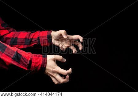Crooked Male Hands, Reaching For Something. Emotions, Stress, Epilepsy, Or Other Neurological Diseas