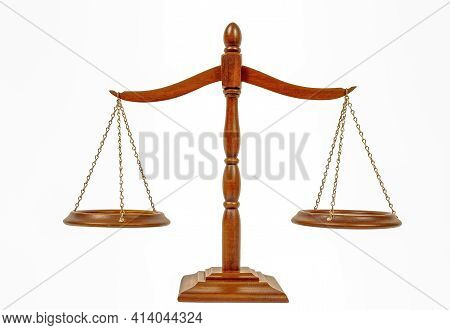 Horizontal Shot Of The Scales Of Justice On A White Background.