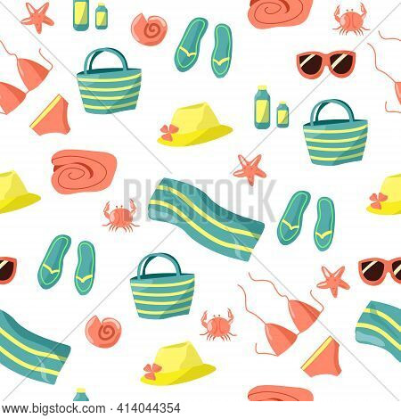 Seamless Pattern Dedicated To Beach Holidays. Elements On A White Background