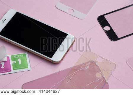 Tempered Glass Shield Or Film Screen Cover With Mobile Phone