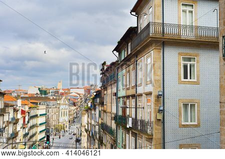 Cityscape Of Old Town Of Porto With Moody Sky. Porto, Portugal