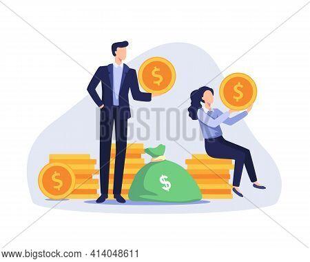 Happy Business People Earning Money