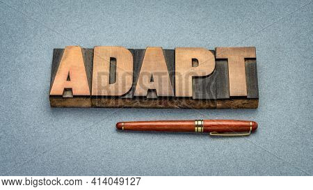 adapt word abstract in vintage letterpress wood type, evolve and embrace change concept