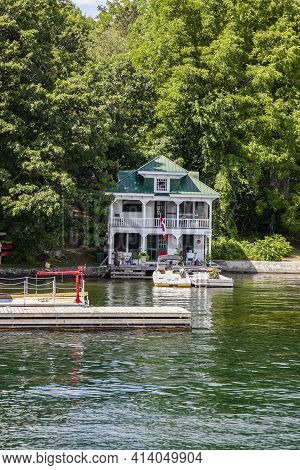 Thousand Islands, Ontario, Canada, July 2012 - The Beautiful Cottage Along The Thousand Islands Wate