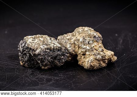 Asphalt Stone, Piece Of Asphalt With Gravel And Bitumen, Material Used In Road Construction
