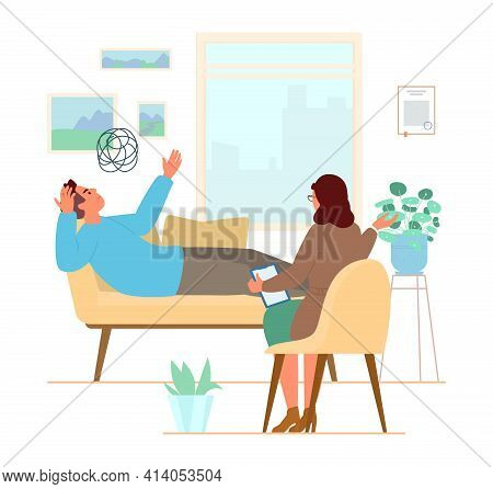 Psychotherapy Session Flat Vector Illustration. Man Laying On The Couch Talking About His Problems T