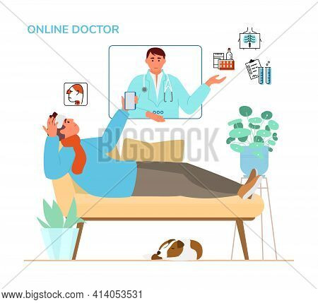 Online Doctor Consultation Concept. Sick Man Laying On The Sofa Holding Smartphone Talking To Doctor