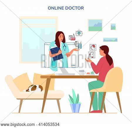 Online Doctor Consultation Concept. Woman Sitting At Desk At Home Talking To Doctor By Videoconferen