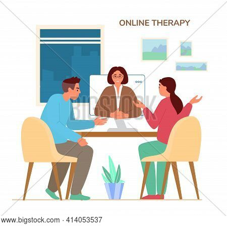 Online Family Therapy Concept Flat Vector Illustration. Couple Discussing Their Problems With Woman