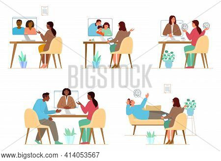 Vector Illustrations Set Of Online And Offline Psychotherapy Sessions With Woman Psychologist. Famil