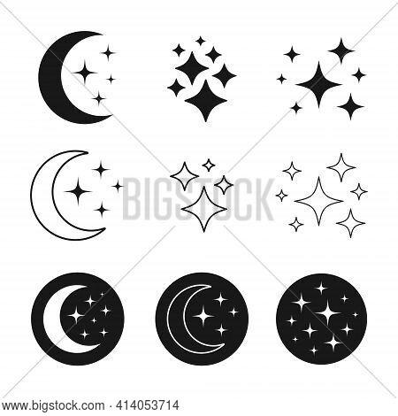 Set Of Night Icons, Dreams Signs, Sleep Symbols Vector Design.