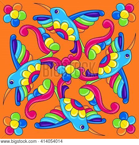 Mexican Talavera Ceramic Tile Pattern With Tropical Hummingbirds. Traditional Decorative Objects.