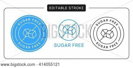 Sugar Free Linear Icon Sign, Editable Stroke.
