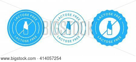 Lactose Free Vector Icon Circle Sign. No Milk Added Sticker.