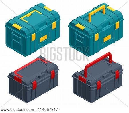Isometric Square Black And Green Toolbox. Instrument Toolbox. Repair Equipment For Workers. A Toolbo