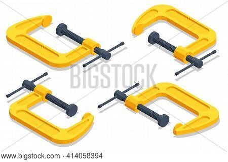 Isometric Clamp Tool Or C-clamp Isolated On White Background.