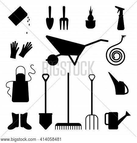Set Of Various Gardening Items. Gardening Icon. Watering Can, Apron, Shovel, Wheelbarrow, Dig, Glove