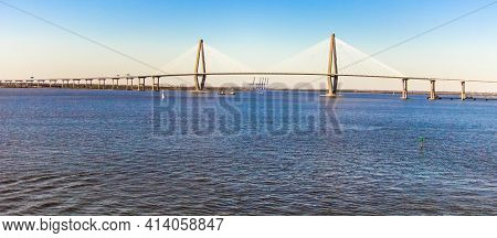 Panoramic View Of The Famous Arthur Ravenel Bridge Between Mount Pleasant And Charleston, South Caro