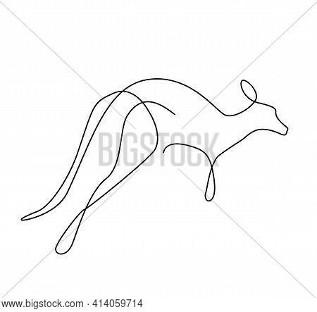 Kangaroo One Line. Australian Kangaroo Bear Outline. Continuous Line